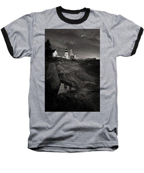 Pemaquid Lighthouse At Dawn Black And White Baseball T-Shirt