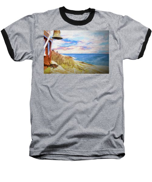 Pemaquid Lighthouse Bell On Maine Rocky Coast. Baseball T-Shirt