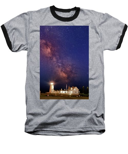Pemaquid Point Lighthouse And The Milky Way Baseball T-Shirt