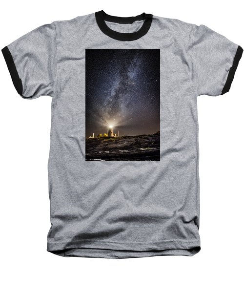 Baseball T-Shirt featuring the photograph Pemaquid Point Milky Way by Robert Clifford