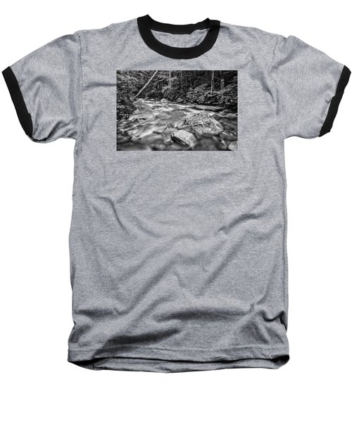 Pemi River Black-white Baseball T-Shirt by Michael Hubley