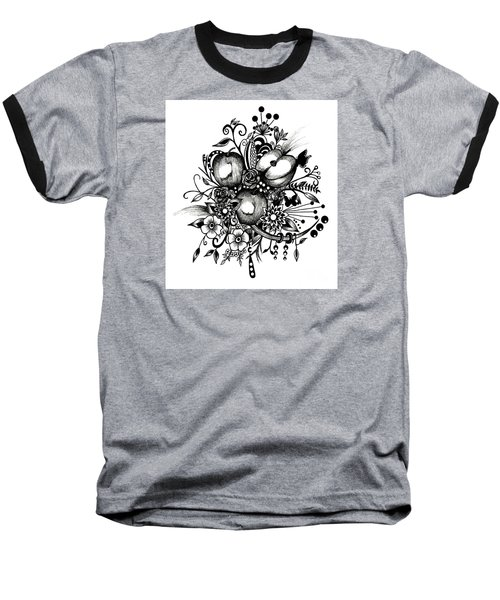 Pen And Ink Drawing Apples Black And White Art Baseball T-Shirt by Saribelle Rodriguez