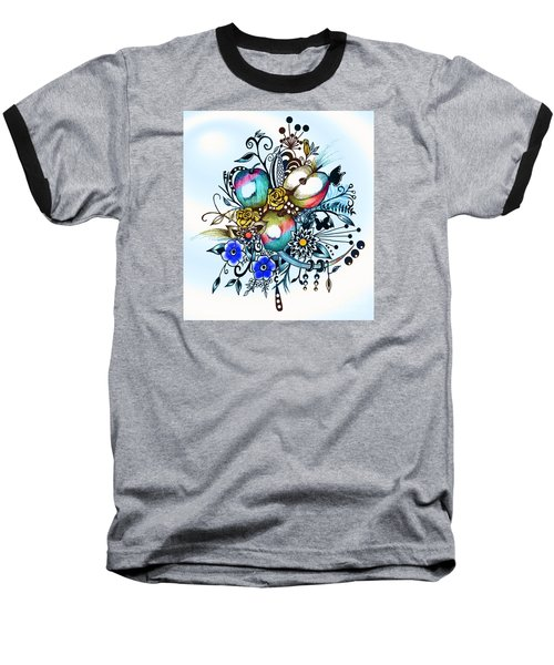 Pen And Ink Drawing, Colorful Apples, Watercolor And Digital Painting Baseball T-Shirt