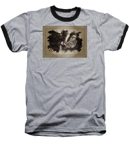 Pen And Ink Fall Butterfly Baseball T-Shirt by Karen McKenzie McAdoo