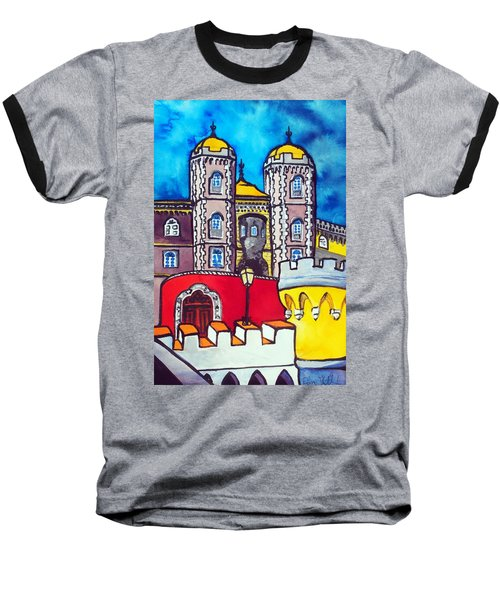 Baseball T-Shirt featuring the painting Pena Palace In Sintra Portugal  by Dora Hathazi Mendes