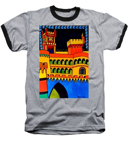 Baseball T-Shirt featuring the painting Pena Palace Portugal by Dora Hathazi Mendes