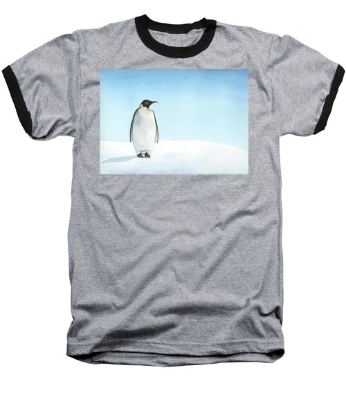 Penguin Watercolor Baseball T-Shirt by Taylan Apukovska