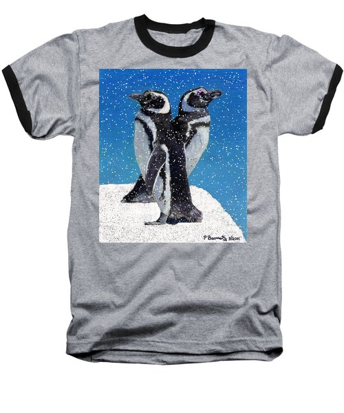 Penguins In The Snow Baseball T-Shirt by Patricia Barmatz