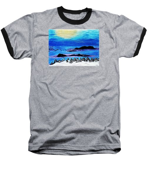 Penguins Land Baseball T-Shirt