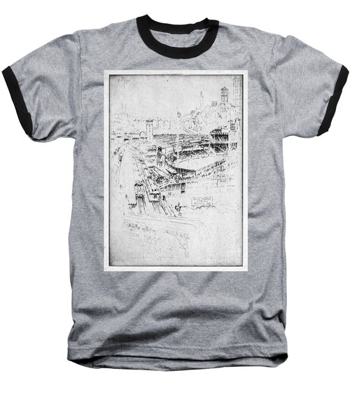 Baseball T-Shirt featuring the drawing Pennell Polo Grounds 1921 by Granger