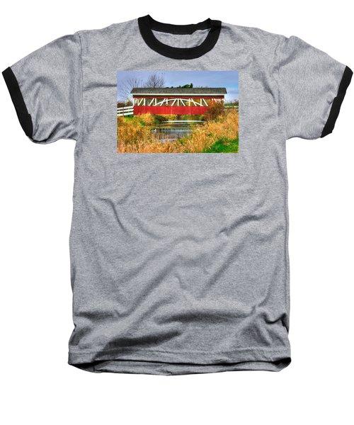 Pennsylvania Country Roads - Oregon Dairy Covered Bridge Over Shirks Run - Lancaster County Baseball T-Shirt by Michael Mazaika