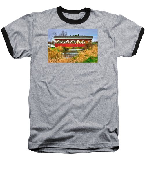 Pennsylvania Country Roads - Oregon Dairy Covered Bridge Over Shirks Run - Lancaster County Baseball T-Shirt