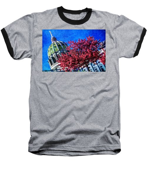 Baseball T-Shirt featuring the photograph Pennsylvania State Capitol Dome In Bloom by Shelley Neff