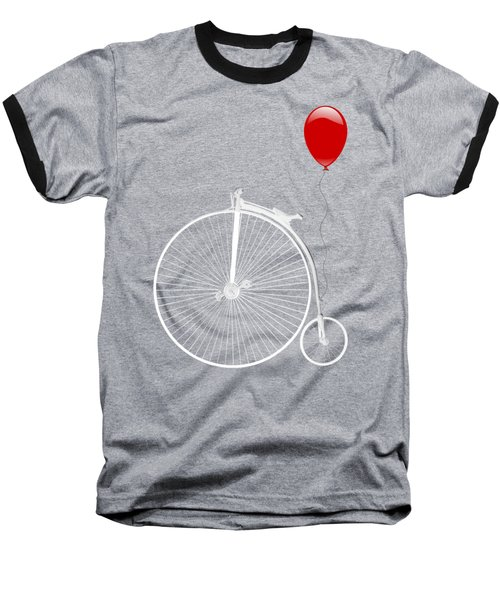 Penny Farthing With Red Balloon On Black Baseball T-Shirt