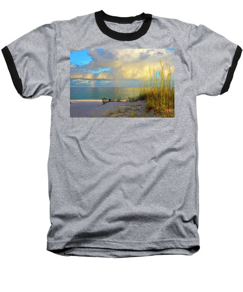 Pensacola Rainbow At Sunset Baseball T-Shirt by Marie Hicks
