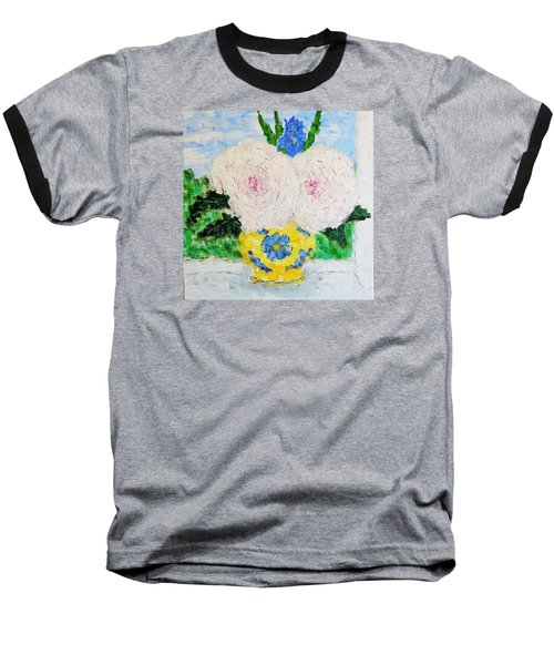 Peonies And Iris On The Window. Baseball T-Shirt by Tamara Savchenko