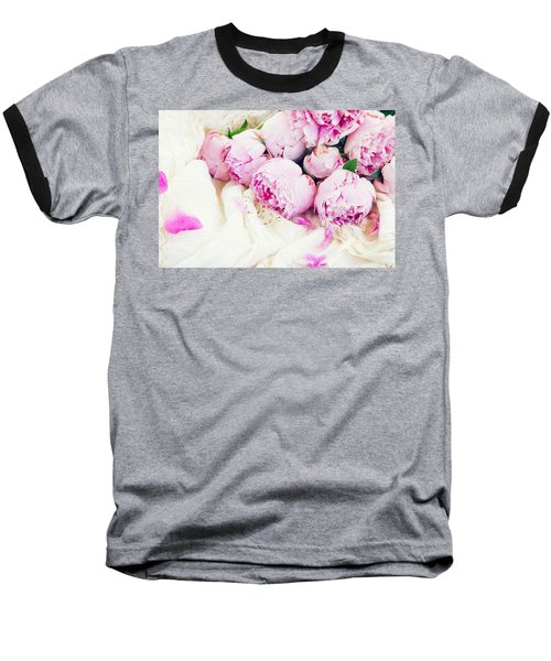 Peonies And Wedding Dress Baseball T-Shirt