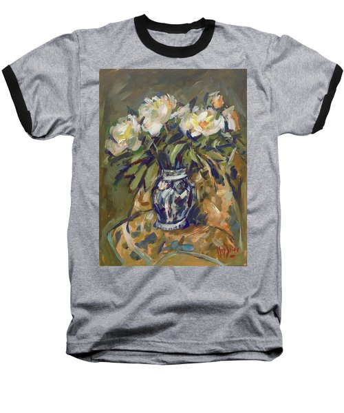 Peonies In Delft Blue Vase On Quilt Baseball T-Shirt