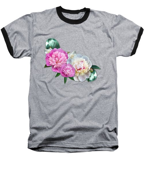 Peonies In Pink And Blue Baseball T-Shirt