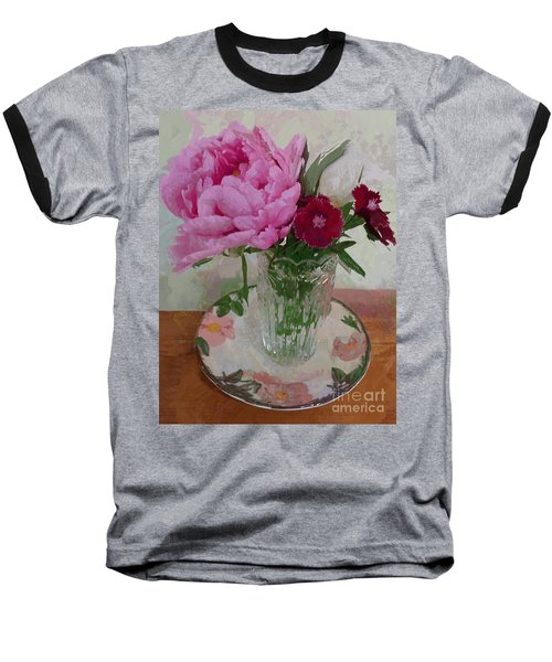 Baseball T-Shirt featuring the digital art Peonies With Sweet Williams by Alexis Rotella