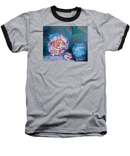 Baseball T-Shirt featuring the painting Peony And Chinese Vase by Jenny Lee