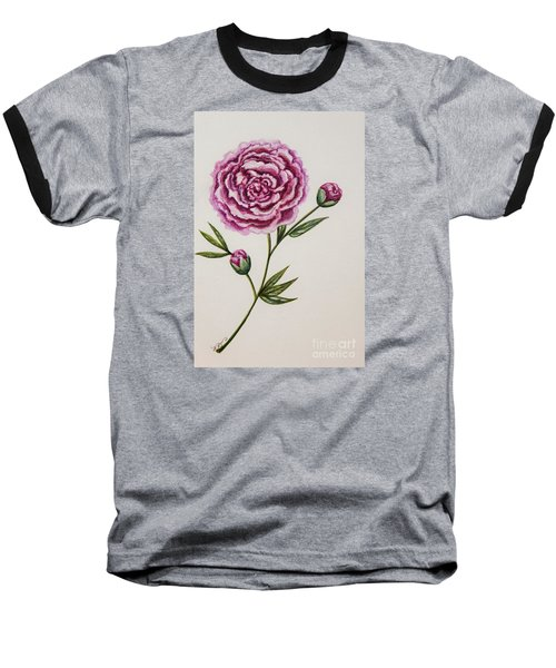 Peony Botanical Baseball T-Shirt by Elizabeth Robinette Tyndall