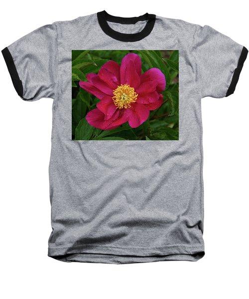 Baseball T-Shirt featuring the photograph Peony In Rain by Sandy Keeton