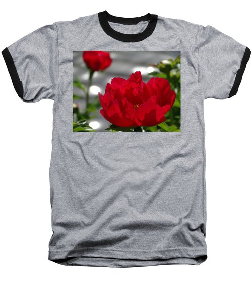 Peony In Red Baseball T-Shirt by Rebecca Overton