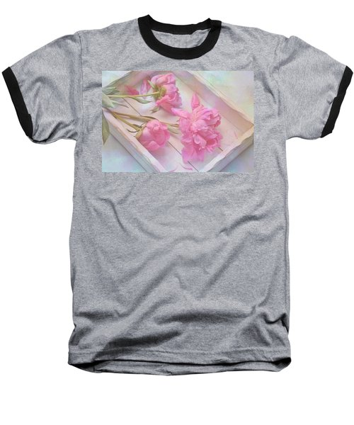 Peonies In White Box Baseball T-Shirt by Diane Alexander