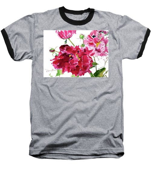 Baseball T-Shirt featuring the painting Peony by Patti Ferron