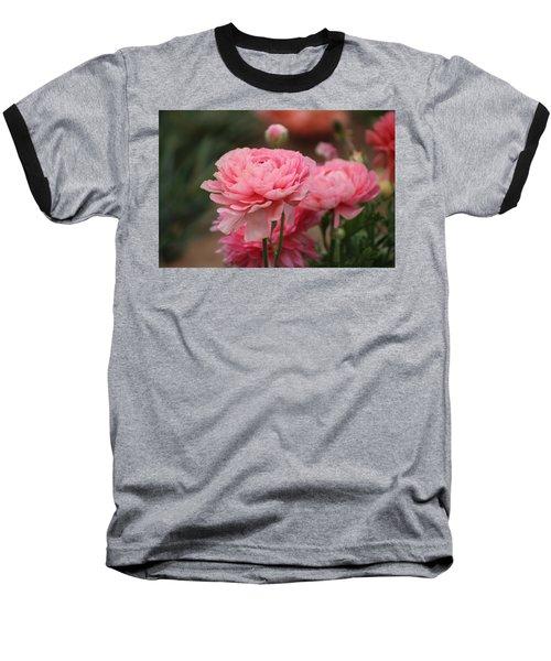 Peony Pink Ranunculus Closeup Baseball T-Shirt
