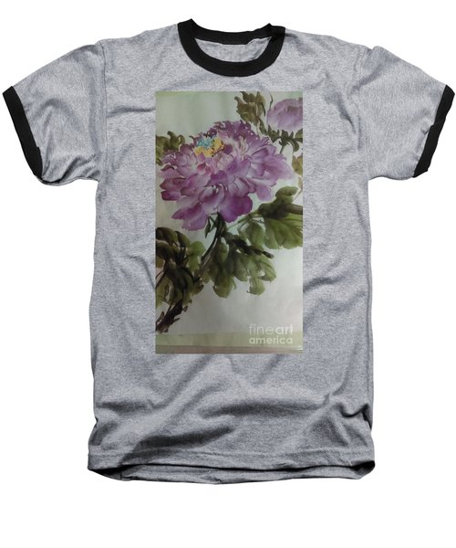 Baseball T-Shirt featuring the painting Peony20170126_1 by Dongling Sun