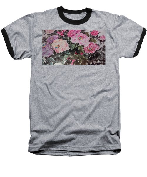 Baseball T-Shirt featuring the painting Peony20170126_2 by Dongling Sun