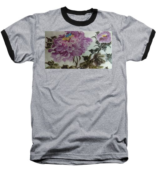 Baseball T-Shirt featuring the painting Peony20170213_1 by Dongling Sun