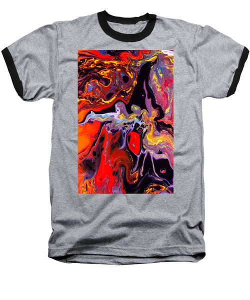 People - Abstract Colorful Mixed Media Painting Baseball T-Shirt by Modern Art Prints