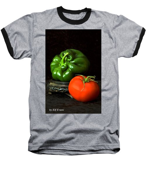 Baseball T-Shirt featuring the photograph Pepper And Tomato by Elf Evans