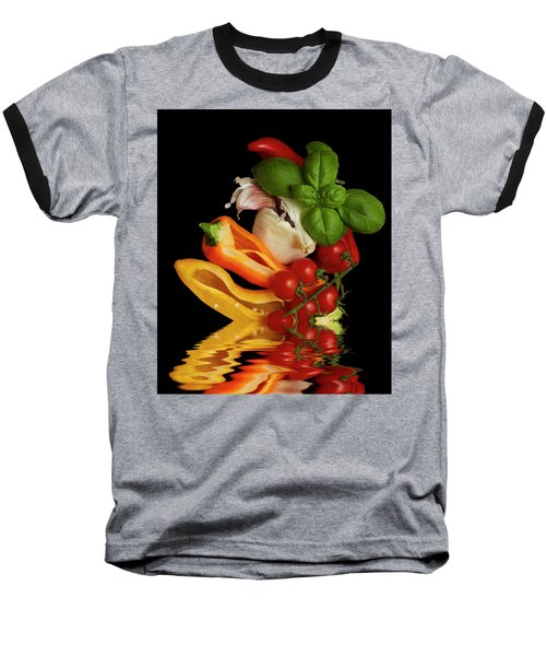 Baseball T-Shirt featuring the photograph Peppers Basil Tomatoes Garlic by David French