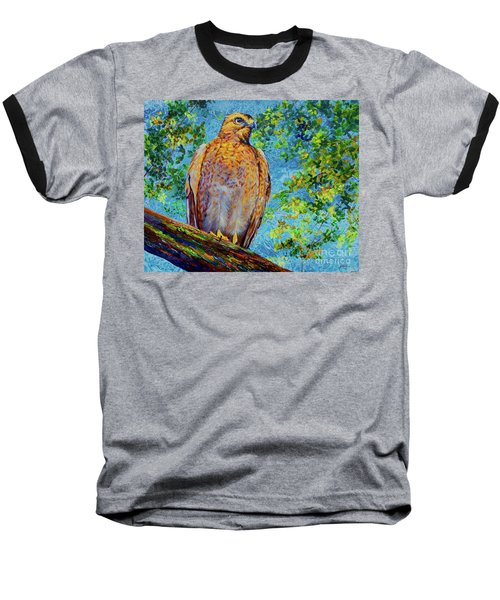 Baseball T-Shirt featuring the painting Perched Hawk by AnnaJo Vahle