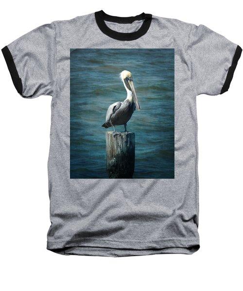 Perched Pelican Baseball T-Shirt