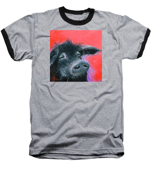 Percival The Black Pig Baseball T-Shirt by Jan Matson