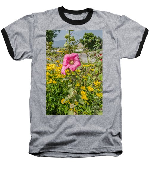 Baseball T-Shirt featuring the photograph Perfect Pink Hollyhocks by Sue Smith