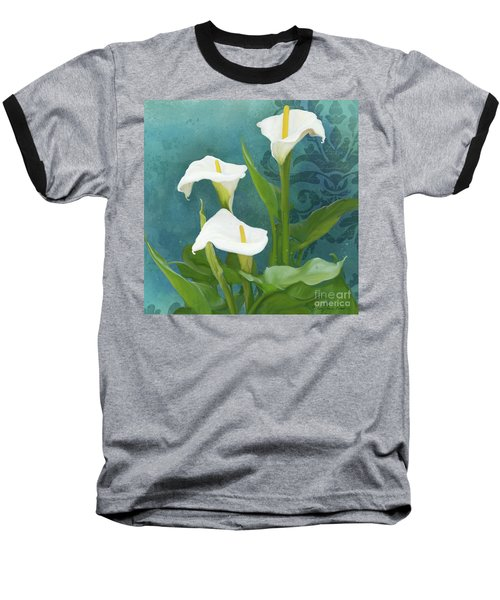 Baseball T-Shirt featuring the painting Perfection - Calla Lily Trio by Audrey Jeanne Roberts