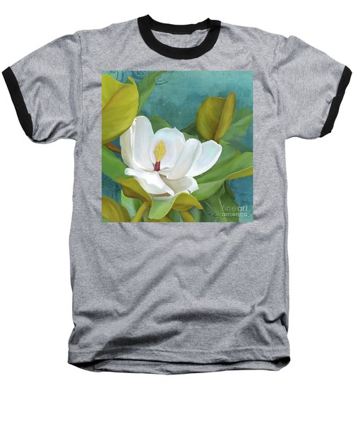 Baseball T-Shirt featuring the painting Perfection - Magnolia Blossom Floral by Audrey Jeanne Roberts