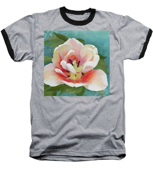 Baseball T-Shirt featuring the painting Perfection - Single Tulip Blossom by Audrey Jeanne Roberts