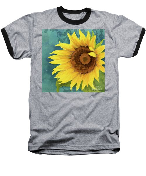 Baseball T-Shirt featuring the painting Perfection - Russian Mammoth Sunflower by Audrey Jeanne Roberts