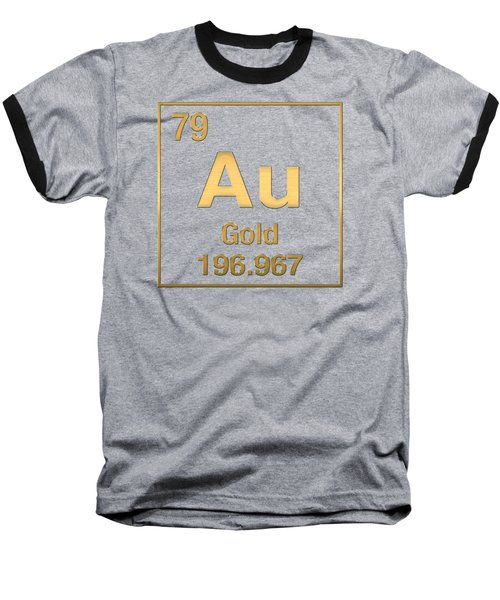Periodic Table Of Elements - Gold - Au - Gold On Black Baseball T-Shirt by Serge Averbukh
