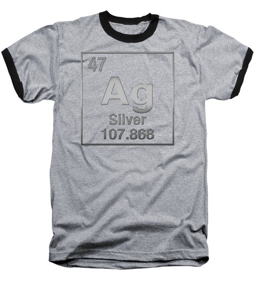 Periodic Table Of Elements - Silver - Ag - Silver On Black Baseball T-Shirt