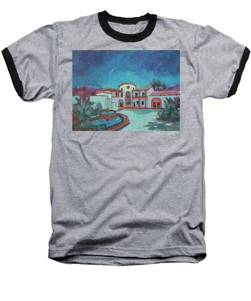 Baseball T-Shirt featuring the painting Perseids Meteor Shower From La Quinta Museum by Diane McClary
