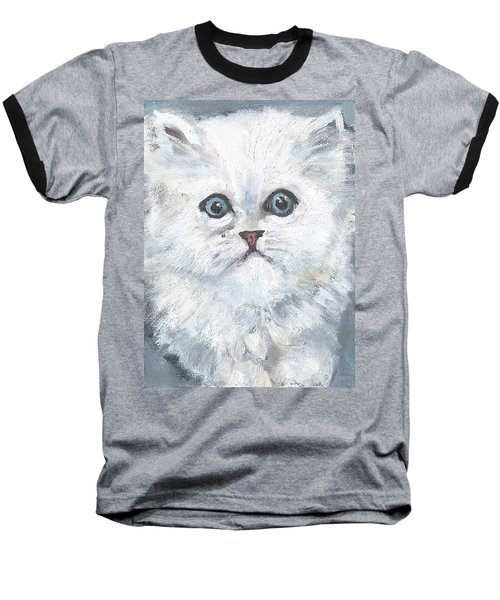 Baseball T-Shirt featuring the painting Persian Kitty by Jessmyne Stephenson