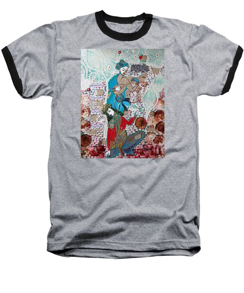 Baseball T-Shirt featuring the painting Persian Painting # 1 by Sima Amid Wewetzer